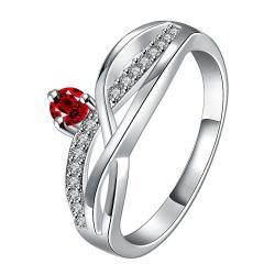 Petite Ruby Red Gem Spiral Petite Ring Size 8 - Thumbnail 0