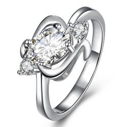 Center Crystal Gem Spiral Emblem Petite Ring Size 7 - Thumbnail 0