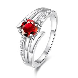 Petite Ruby Red Trio-Spiral Lined Ring Size 8 - Thumbnail 0