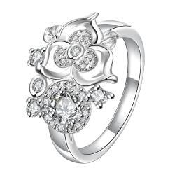 Mini Classic Crystal Clover Stud Shape Petite Ring Size 8 - Thumbnail 0