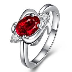 Ruby Red Gem Spiral Emblem Petite Ring Size 7 - Thumbnail 0