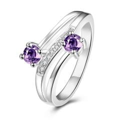 Duo-Petite Purple Citrine Spiral Ring Size 8 - Thumbnail 0