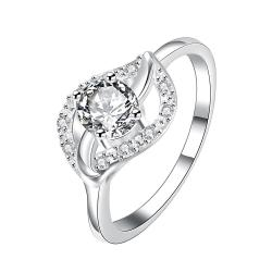 Classical Crystal Stone Floral Petal Ring Size 7 - Thumbnail 0