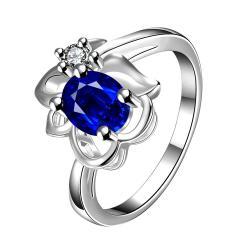 Mock Sapphire Floral Stud Petite Ring Size 8 - Thumbnail 0
