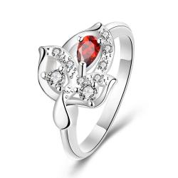 Ruby Red Petite Gem Floral Drop Petite Ring Size 7 - Thumbnail 0