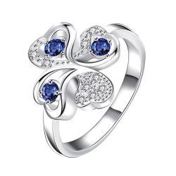 Quad-Mock Sapphire Jewels Covering Clover Stud Petite Ring Size 7 - Thumbnail 0