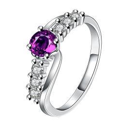 Purple Citrine Jewels Lining Ring Size 7 - Thumbnail 0