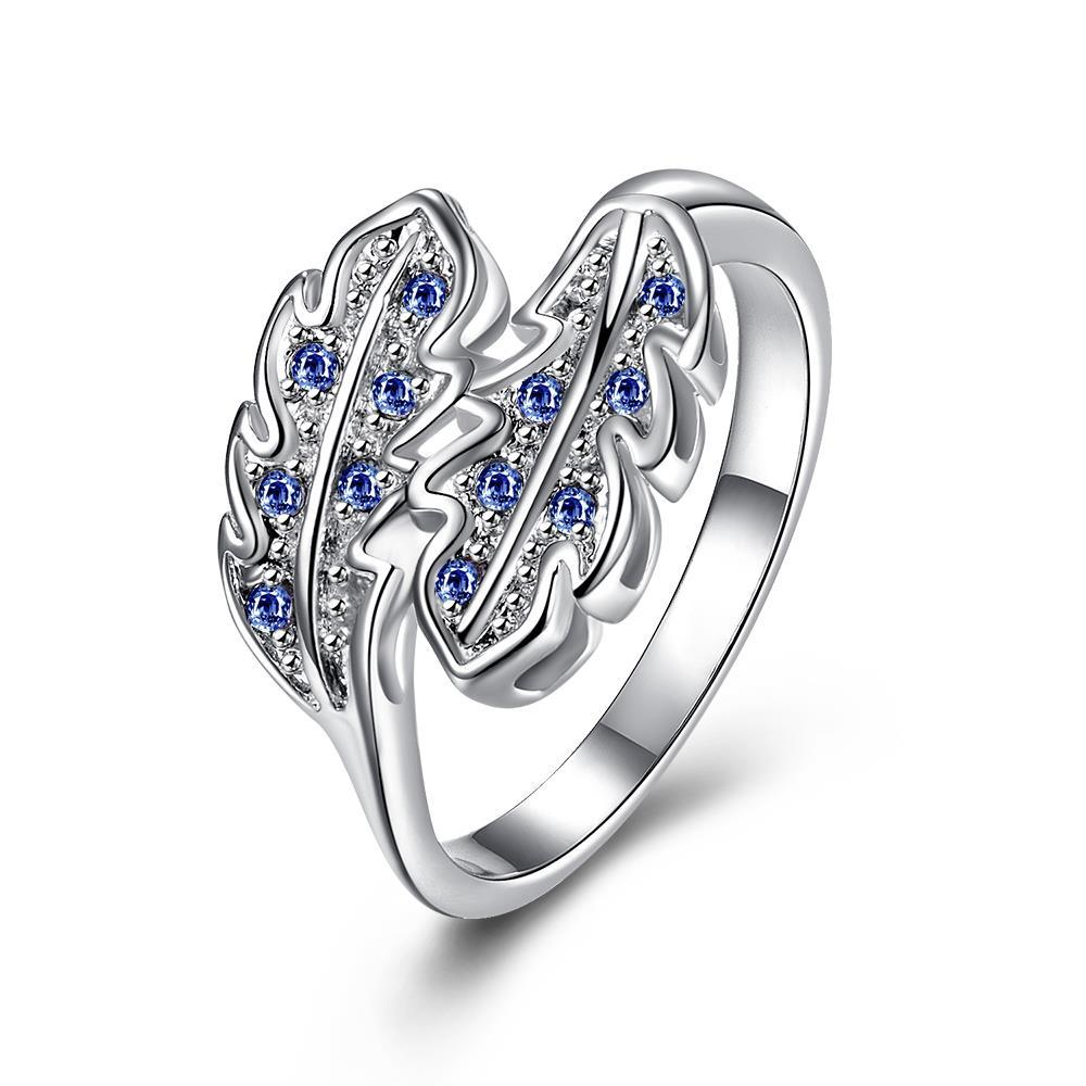 Mock Sapphire Duo Leaf Branch Petite Ring Size 8