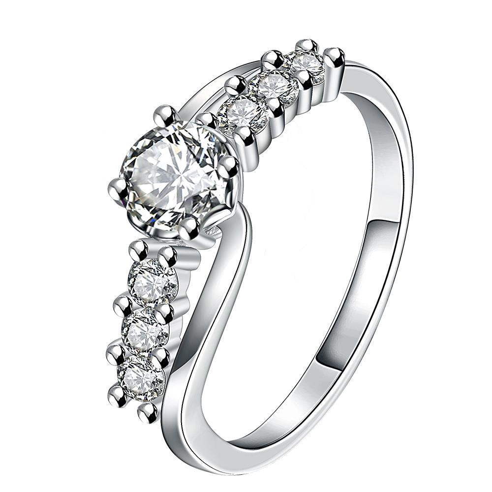 Center Crystal Jewels Lining Ring Size 8