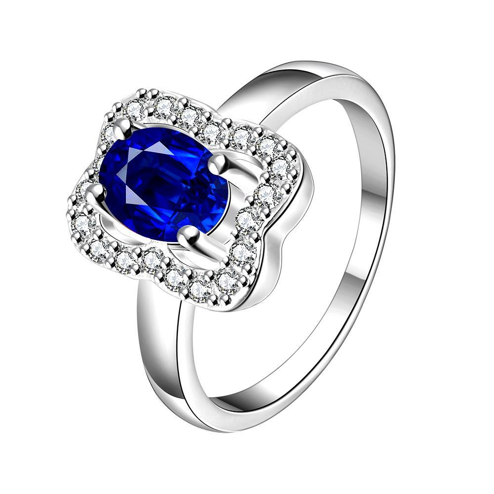 Vienna Jewelry Mock Sapphire Square Shaped Petite Ring Size 7 - Thumbnail 0