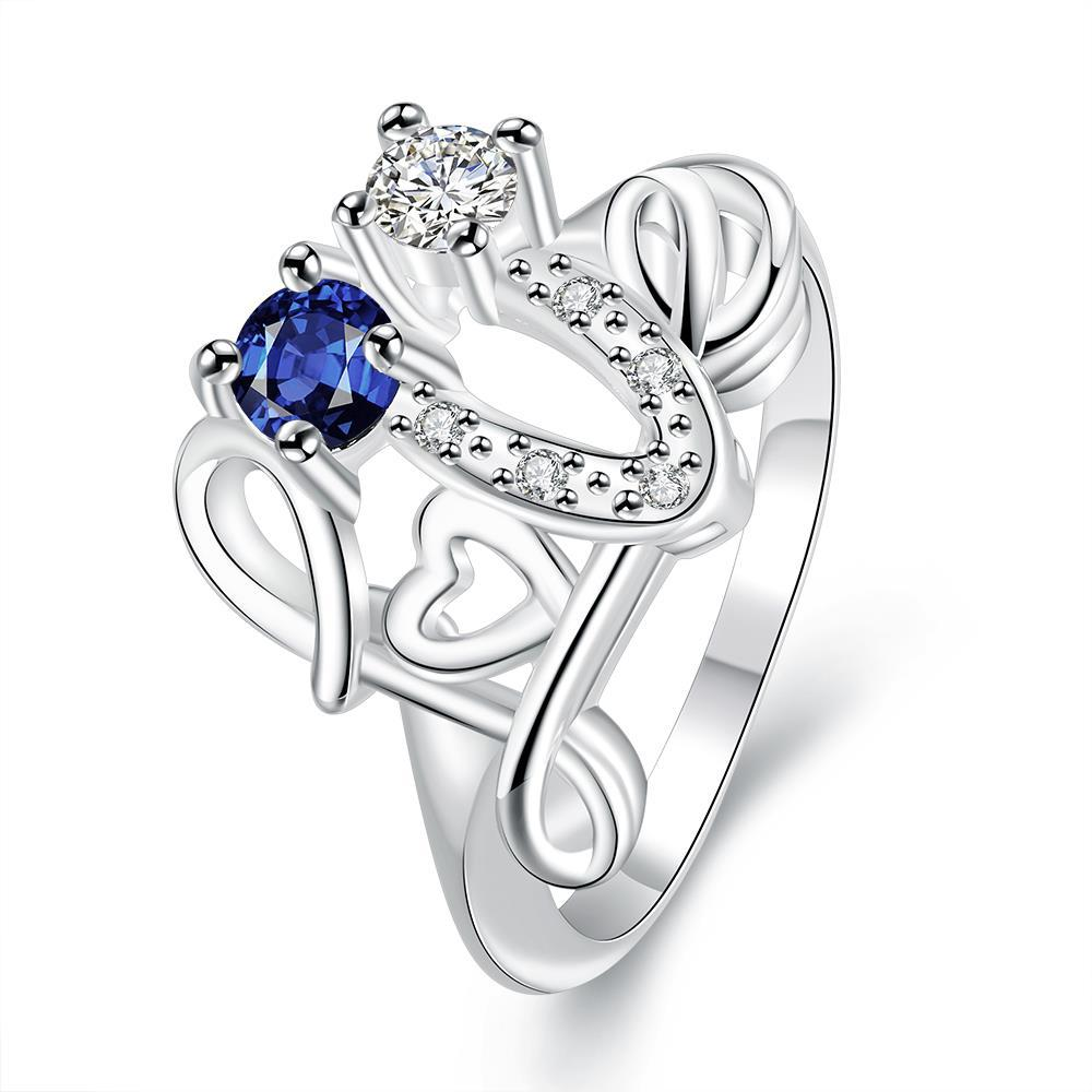 Vienna Jewelry Petite Mock Sapphire Swirl Design Open Ring Size 8