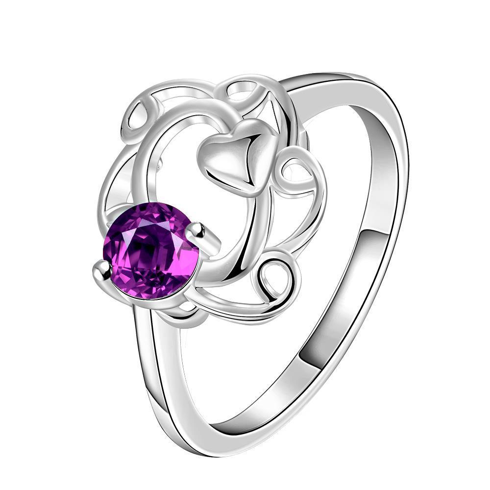 Vienna Jewelry Petite Purple Citrine Spiral Curved Petite Ring Size 8