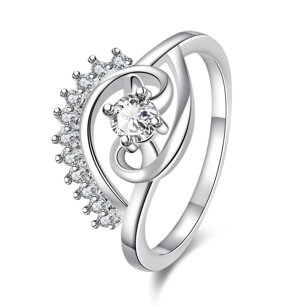 Vienna Jewelry Petite Classic Crystal Jewels Spiral Design Ring Size 7