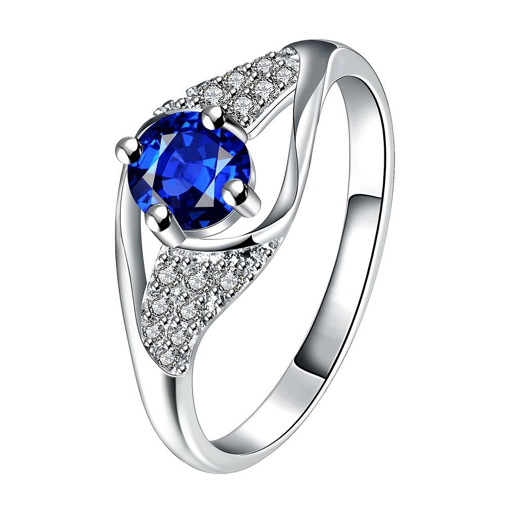 Mock Sapphire Spiral Jewels Classical Ring Size 7
