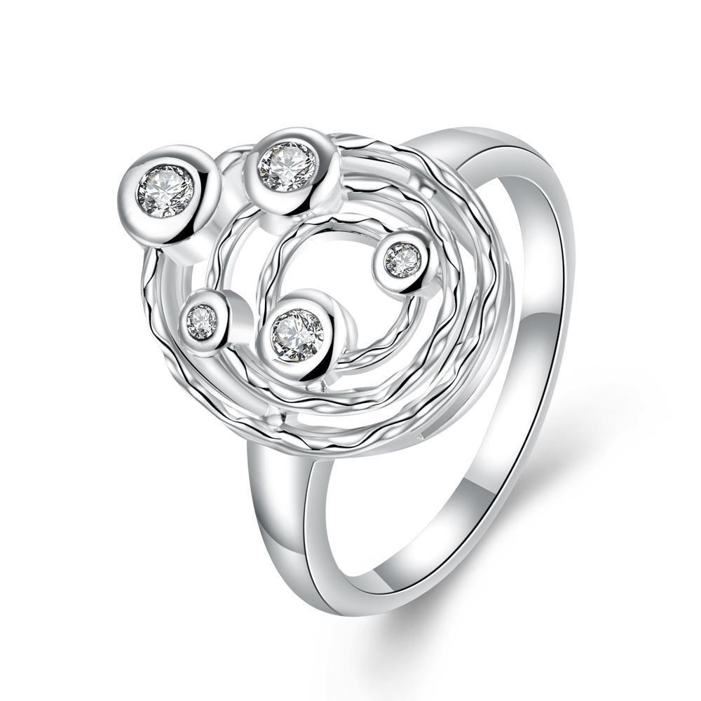 Vienna Jewelry Classic Crystal Petite Gems Swirl Emblem Ring Size 7