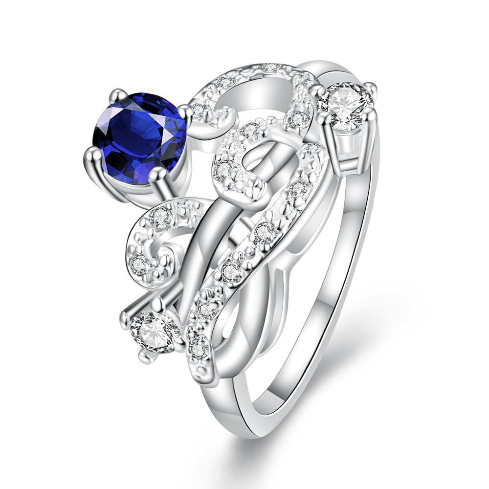 Vienna Jewelry Petite Mock Sapphire Swirl Abstract Design Petite Ring Size 8