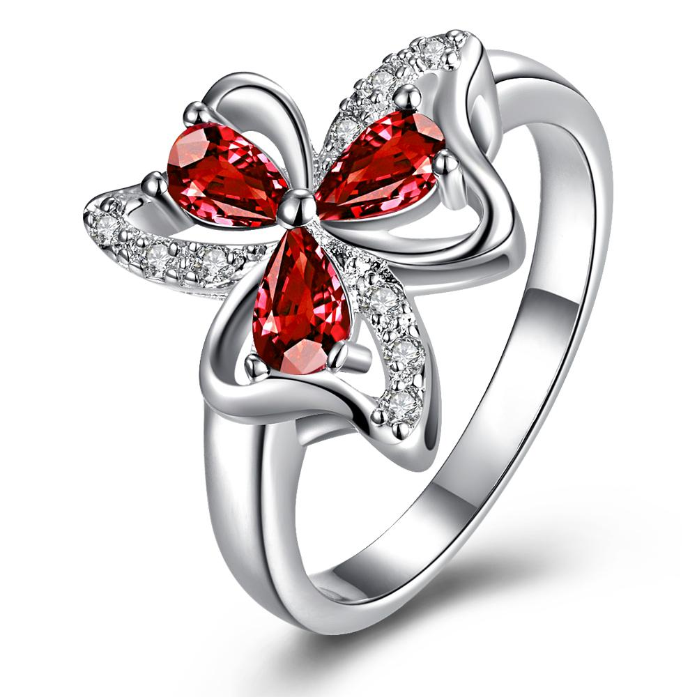 Vienna Jewelry Trio-Ruby Red Clover Petals Classic Ring Size 7