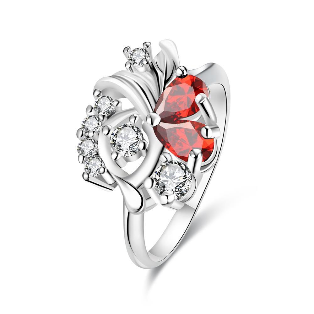 Vienna Jewelry Duo-Ruby Red Floral Crystal Petite Ring Size 7