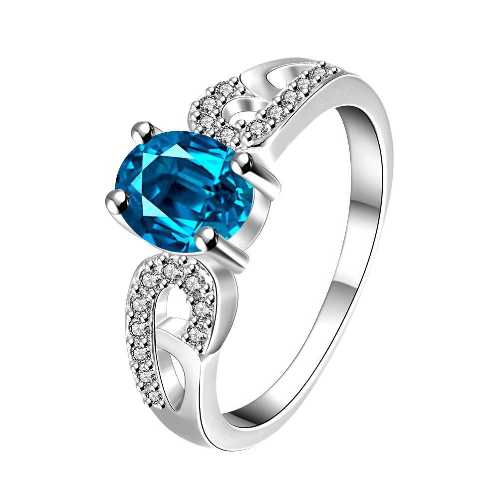 Vienna Jewelry Petite Light Sapphire Laser Cut Petite Ring Size 7