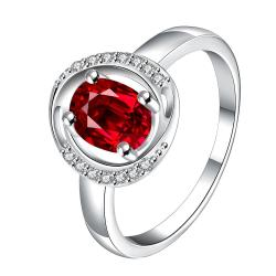 Ruby Red Circular Jewels Lining Ring Size 7 - Thumbnail 0