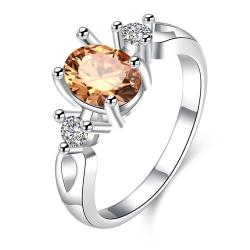 Petite Orange Citrine Gem Duo Stone Ring Size 7 - Thumbnail 0