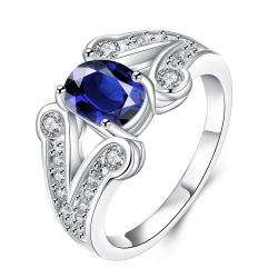 Vienna Jewelry Mock Sapphire Duo Curved Lining Ring Size 8 - Thumbnail 0