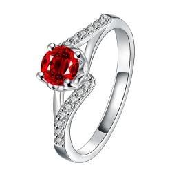 Ruby Red Swirl Design Petite Ring Size 7 - Thumbnail 0