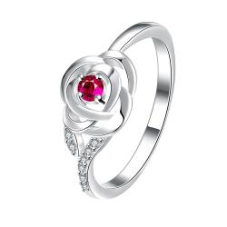 Petite Ruby Red Blossoming Floral Ring Size 7 - Thumbnail 0