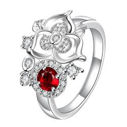 Mini Ruby Red Clover Stud Shape Petite Ring Size 8 - Thumbnail 0