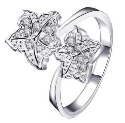 Duo-Classic Crystal Floral Petals Classic Ring Size 7 - Thumbnail 0