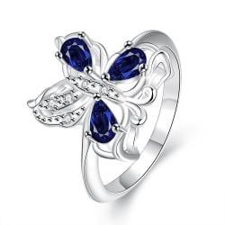 Trio-Mock Sapphire Clover Stud Petite Ring Size 7 - Thumbnail 0