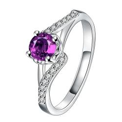 Purple Citrine Swirl Design Petite Ring Size 8 - Thumbnail 0