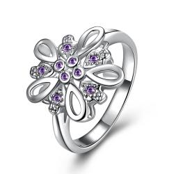 Purple Citrine Blossoming Clover Petite Ring Size 8 - Thumbnail 0