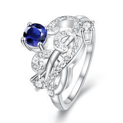 Petite Mock Sapphire Swirl Abstract Design Petite Ring Size 8 - Thumbnail 0