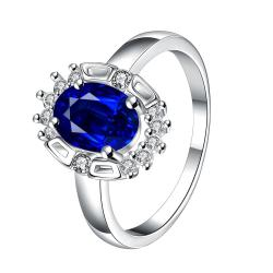 Mock Sapphire Gem Circular Jewels Ring Size 8 - Thumbnail 0