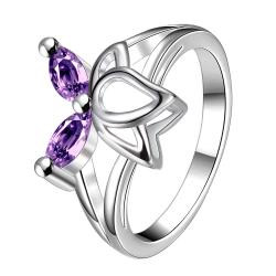 Duo-Purple Citrine Butterfly Wings Petite Ring Size 8 - Thumbnail 0