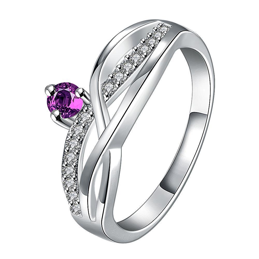 Vienna Jewelry Petite Purple Citrine Gem Spiral Petite Ring Size 8