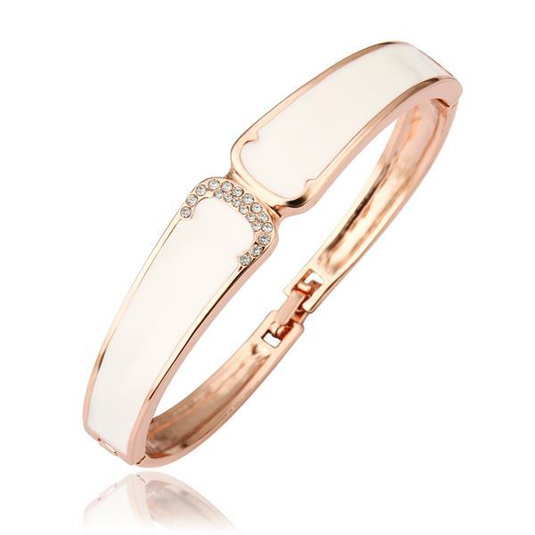 Vienna Jewelry 18K Gold Bangle with Ivory Surronding with Austrian Crystal Elements