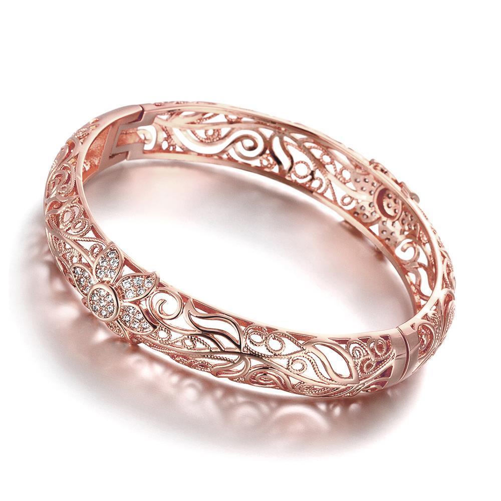 Vienna Jewelry Rose Gold Plated Laser Cut Matrix Ingrain Bangle