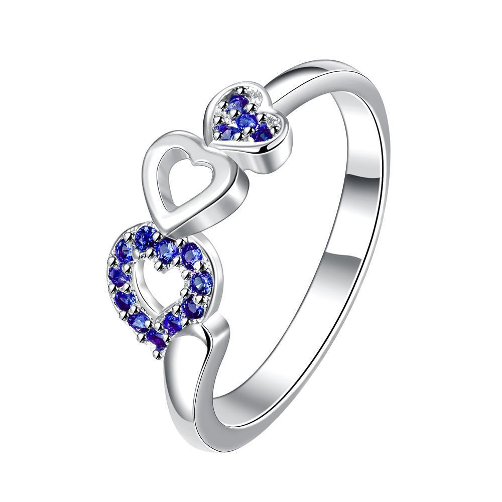 Trio-Heart Mock Sapphire Jewels Petite Ring Size 7