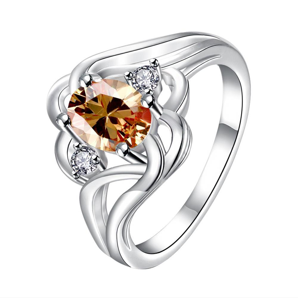 Vienna Jewelry Orange Citrine Spiral Quad Design Classic Ring Size 8 - Thumbnail 0
