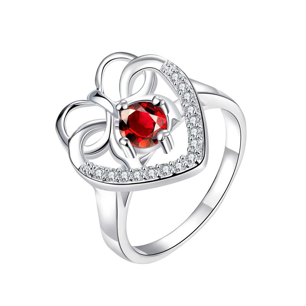 Vienna Jewelry Curved Classic Ruby Red Love Ring Size 7