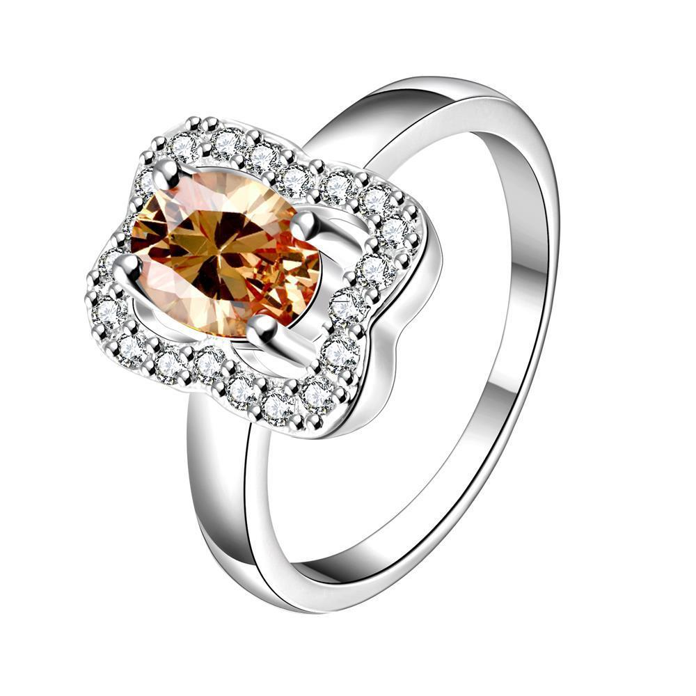 Vienna Jewelry Orange Citrine Square Shaped Petite Ring Size 7