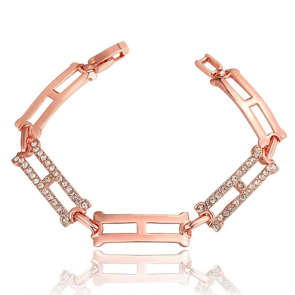 Vienna Jewelry 18K Rose Gold Rectangle Emblem Bracelet with Austrian Crystal Elements