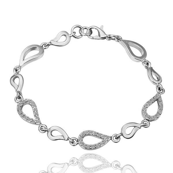 Vienna Jewelry 18K White Gold Oval Shaped Interconnected Bracelet with Austrian Crystal Elements
