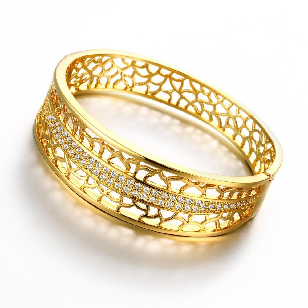 Vienna Jewelry Gold Plated Cheetah Inprint Bangle