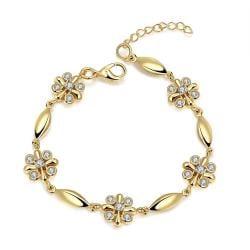 Vienna Jewelry 18K Gold Rose Petals Emblem Bracelet with Austrian Crystal Elements - Thumbnail 0
