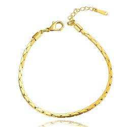 Vienna Jewelry 18K Gold Thin Line Bracelet with Austrian Crystal Elements - Thumbnail 0
