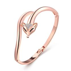 Vienna Jewelry 18K Rose Gold Never Ending Cobra's Bangle with Austrian Crystal Elements