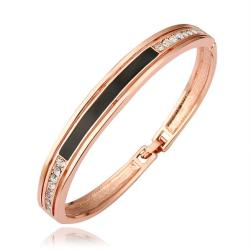 Vienna Jewelry 18K Gold Bangle with Onyx Plate Ingrained with Austrian Crystal Elements - Thumbnail 0